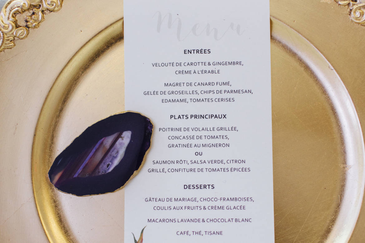 Menu, or et violet